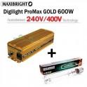 Maxibright ProMax GOLD elektronický předřadník 600W, 240/400V se čtyřpolohovou regulací Příslušenství + Sylvania Grolux 600W/400V