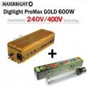 Maxibright ProMax GOLD elektronický předřadník 600W, 240/400V se čtyřpolohovou regulací Příslušenství + Sunmaster Dual Spectrum 600w 400v HPS