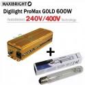 Maxibright ProMax GOLD elektronický předřadník 600W, 240/400V se čtyřpolohovou regulací Příslušenství + Philips Master SON-T PIA Green Power 600W/400V - dual